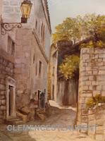 Vielles maisons de pierre dans un village européen, tableau par Clémence St-Laurent