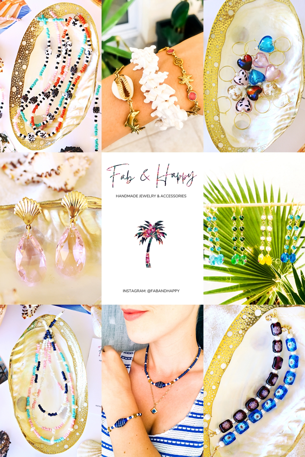 FAB & HAPPY jewelry made with pearls & shells, glass beads