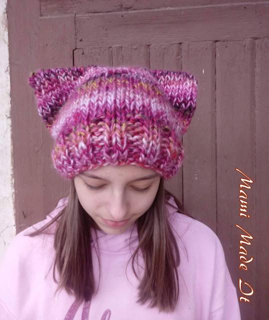 Knitted Cat Hat - Gestrickte Mütze mit Katzenohren