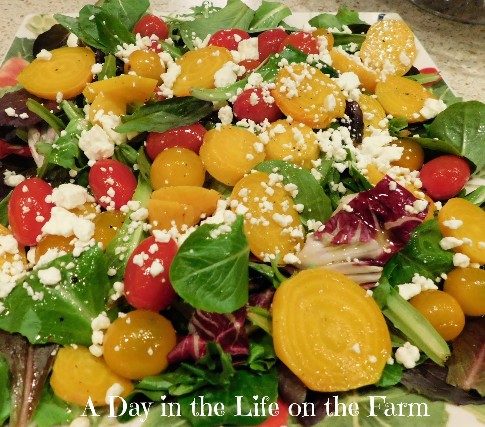 MIxed Greens with Roasted Golden Beets and Lemon Vinaigrette