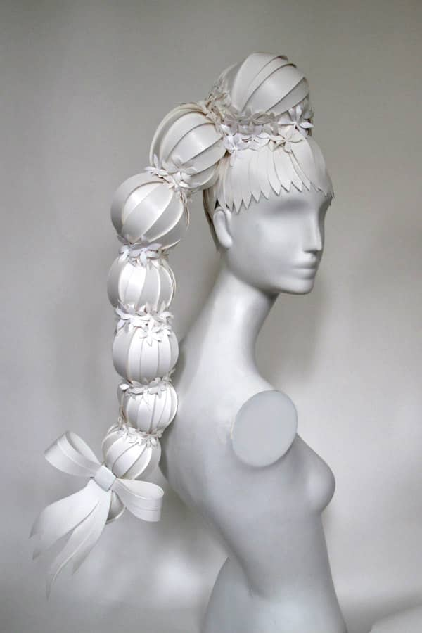 white paper wig with bow in antique fashion style