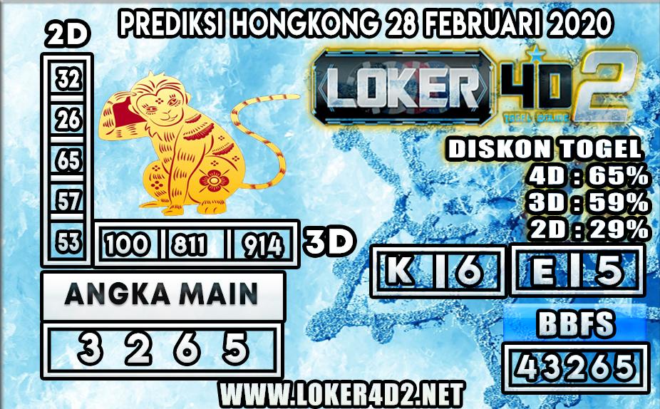 PREDIKSI TOGEL HONGKONG LOKER4D2 28 FEBRUARI 2020