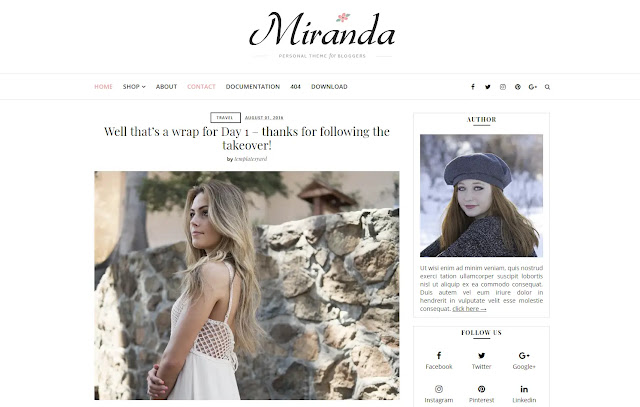 Miranda Responsive Personal Blog Fashions Girly Update Blogger Template Theme