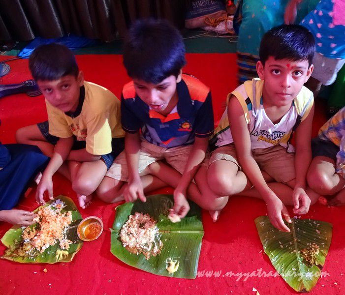 Ganesha Pandal Hopping - Children eating food, Ganesh Chaturthi festival  Mumbai
