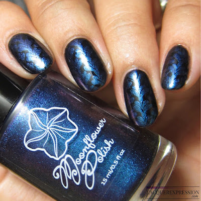 Moonflower Polish Mystique nail polish stamped over black
