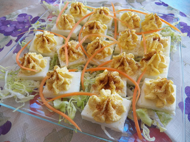 Square deviled eggs.
