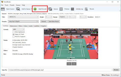 Jika semua settingan sudah dirasa benar dan selesai, Sobat bisa klik Start Encode untuk memulai pengkompresan video.