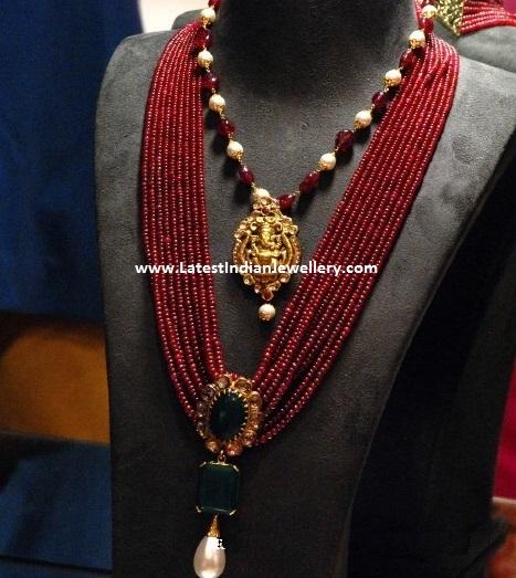 Ruby Beads Mala Pearl Drop Latest Indian Jewellery Designs