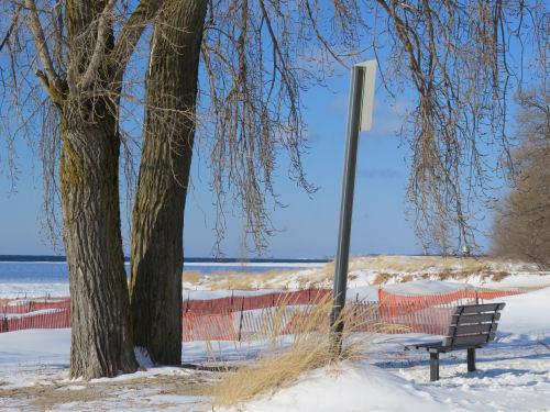 Ludington Michigan beach in winter