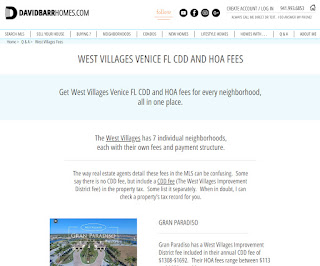 The West Villages Venice FL Fees in one place
