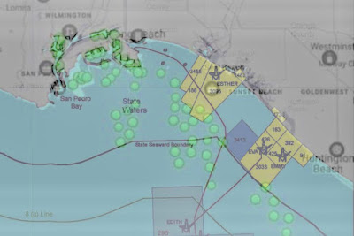 oil pipeline and cargo ship map Long Beach