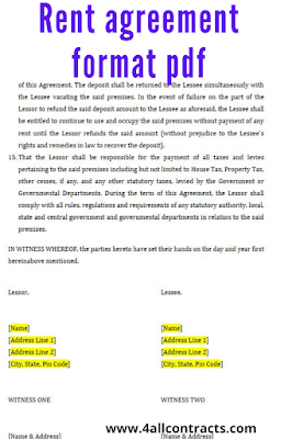 Rent agreement pdf format