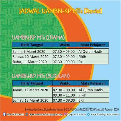 Revisi Jadwal UAMBN-KP MTs 2020