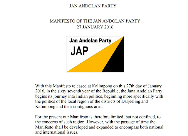 MANIFESTO OF THE JAN ANDOLAN PARTY