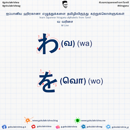 Japanese Hiragana W - Line Consonants with Stroke Order | learn Japanese hiragana alphabets from Tamil - Hiragana Letters Part 10