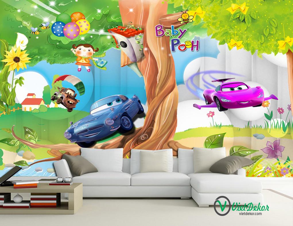 Tranh dán tường 3d phòng ngủ trẻ em