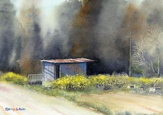 水彩画 春 Spring Watercolor
