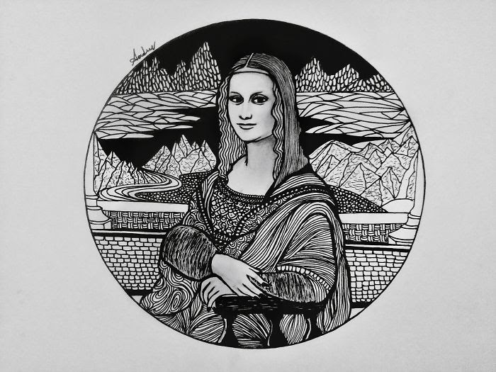 03-Mona-Lisa-by-Leonardo-Da-Vinci-Poonam-Saha-Zentangle-Old-Masters-and-Works-of-Art-Drawings-www-designstack-co