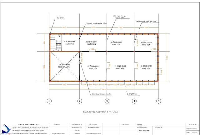 Thiết kế nhà yến mặt cắt 2D tại Tri Tôn An Giang