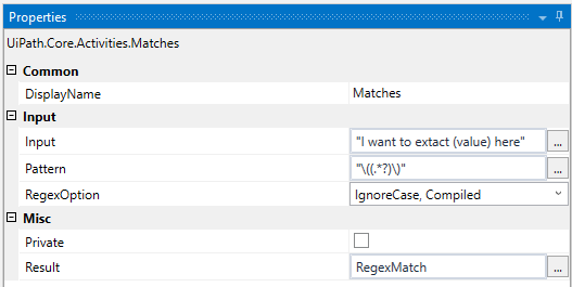UIPath] Extract value inside parenthesis using regex