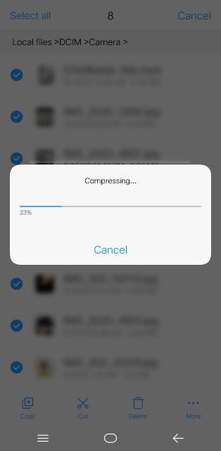 Proses compressing file menjadi zip di android