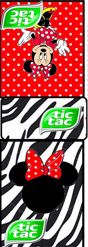 Etiqueta Tic Tac para Imprimir Gratis de Minnie Cebra y Rojo.
