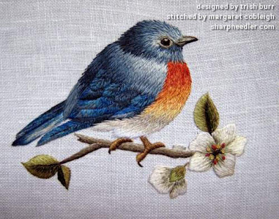 Trish Burr Bluebird: completed embroidered bluebird in needlepainting