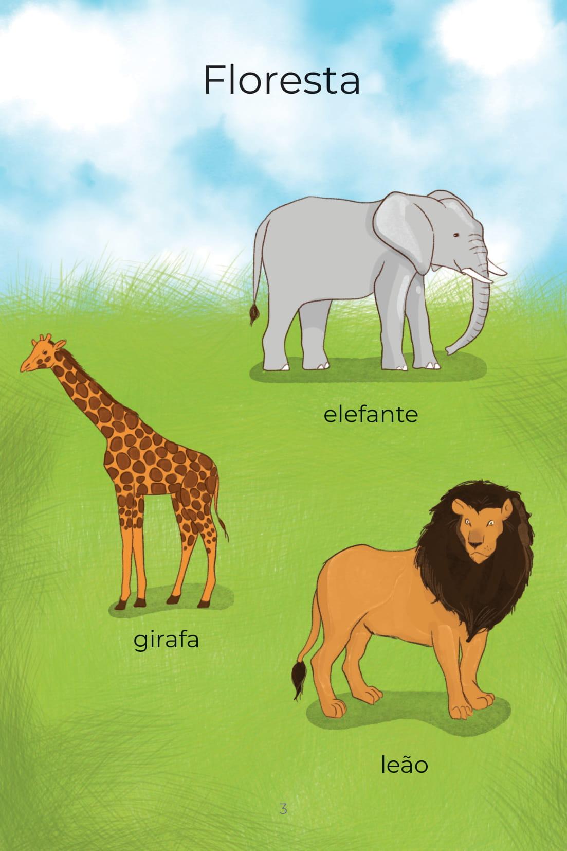 Floresta elefante girafa leão
