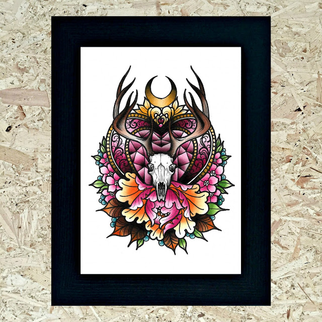 Stag and Raven Antlers print