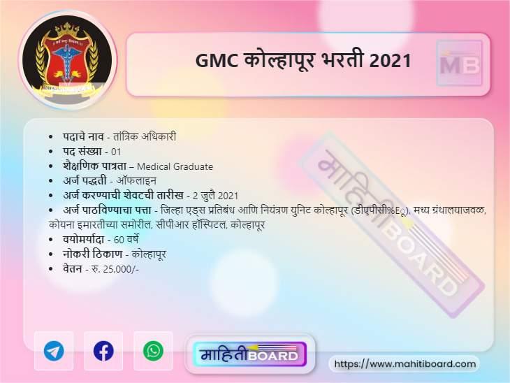 GMC Kolhapur Bharti 2021