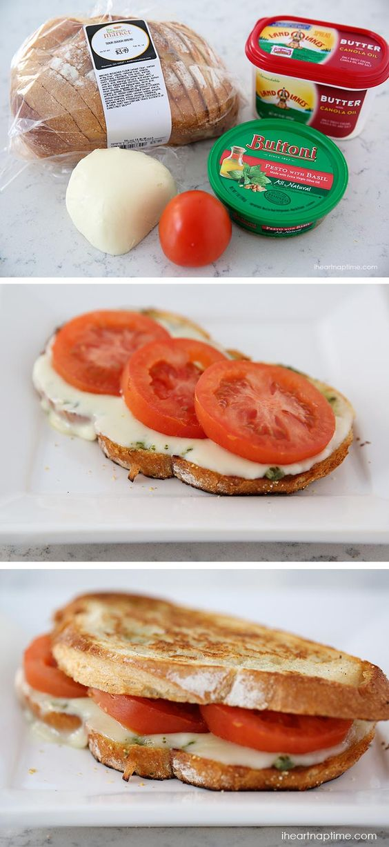 GRILLED CAPRESE SANDWICH #grilled #caprese #sandwich #sandwichrecipes #lunchideas #lunchrecipes