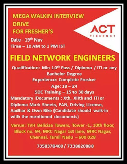 Act Telecommunications Company Mega Walkin Interview  Drive for 10th Pass / Diploma / Iti  Fresher's Field Network Engineers
