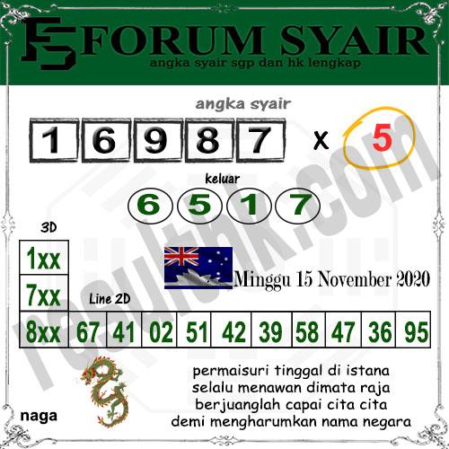 Forum Syair Sidney Minggu 15 November 2020