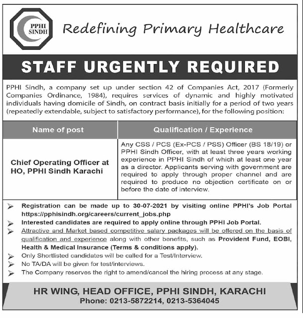 Peoples Primary Healthcare Initiative (PPHI) Sindh Jobs July 2021