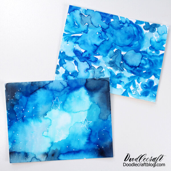 Turn the painted watercolor galaxy into a greeting card