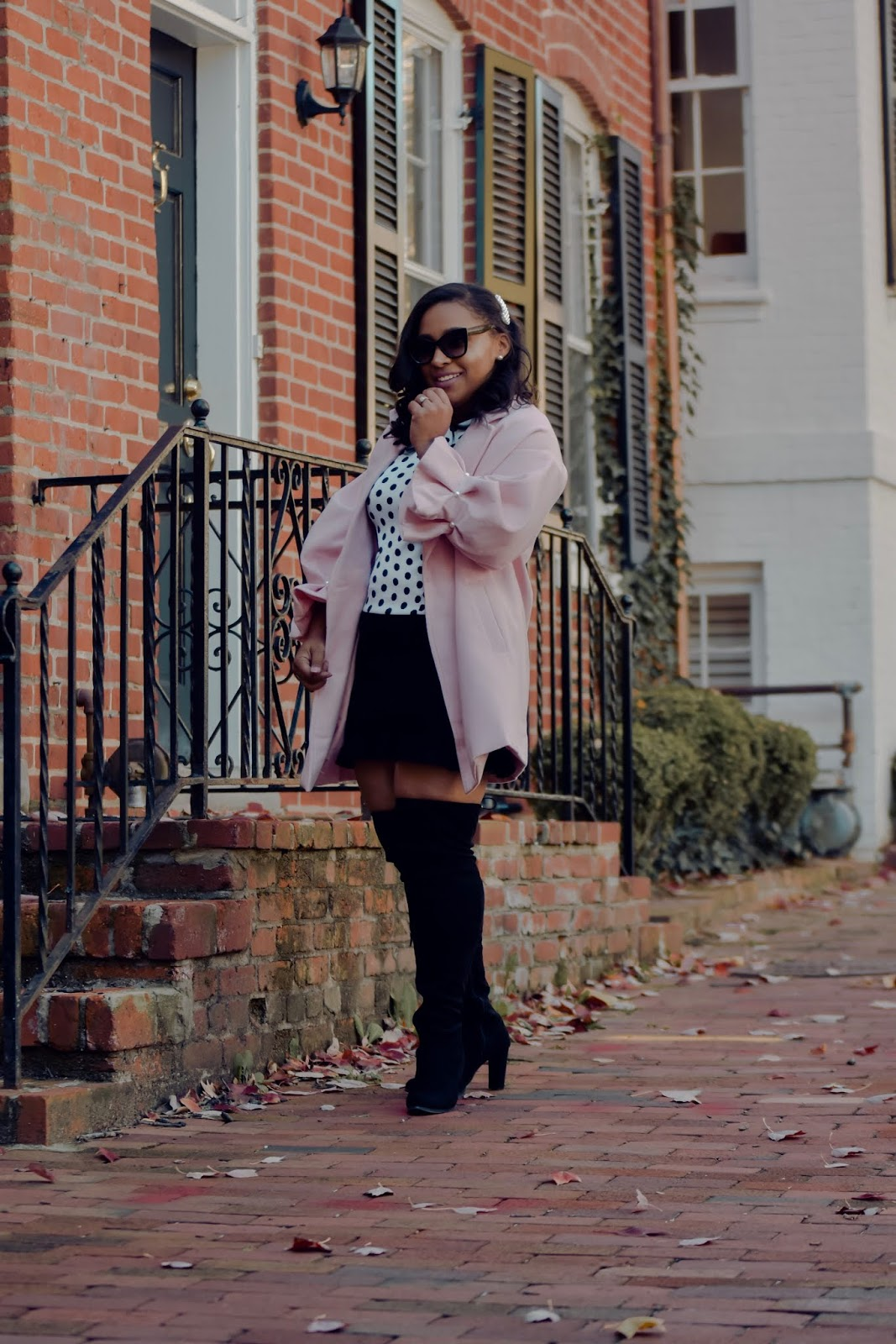ruffle coat, pink outfits, chic holiday outfits, polka dot outfits, over the knee boots, chic mom bloggers