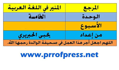 جذاذات--الوحدة-الخامسة-المنير-في-اللغة-العربية-المستوى-الرابع-ابتدائي-المنهاج-الجديد