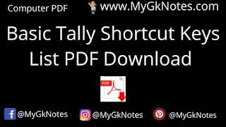 Basic Tally Shortcut Keys List PDF Download