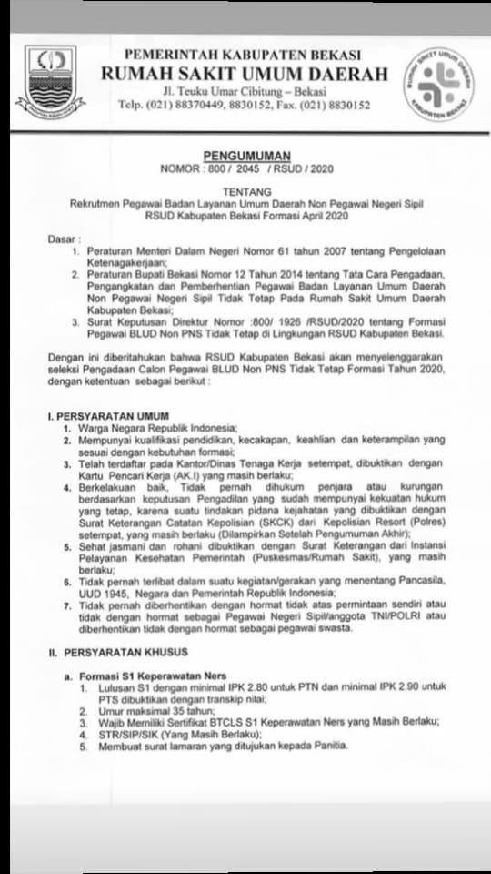 Rekrutmen Non PNS Rumah Sakit RSUD Kab Bekasi Besar Besaran Maret 2020 [85 Formasi]