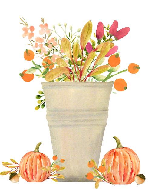 fall flowers bouquet orange pumpkins acorns vintage distressed urn