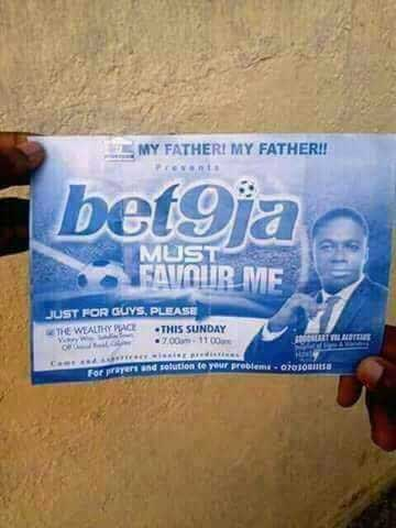 Bet9ja must favour me: Strange church crusade bill spotted in Lagos