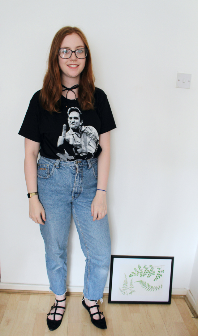 Band T-shirt, Johnny Cash, Country Music, Mom Jeans