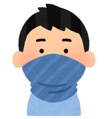 マスクの代わりに布を巻く人のイラスト(男性)
