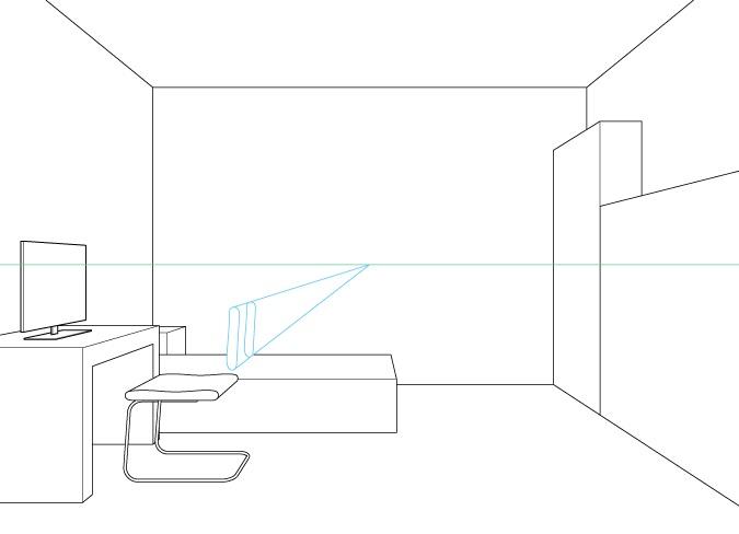 Perspektif satu titik menggambar sandaran kursi komputer
