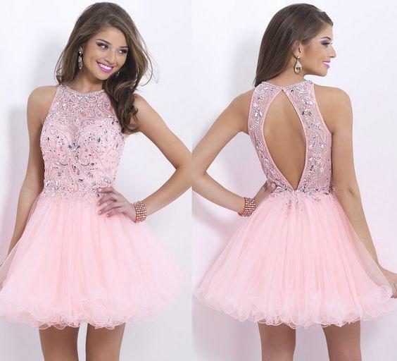 vestidos cortos rosado