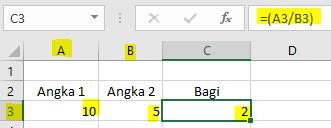 Rumus Pembagian Excel