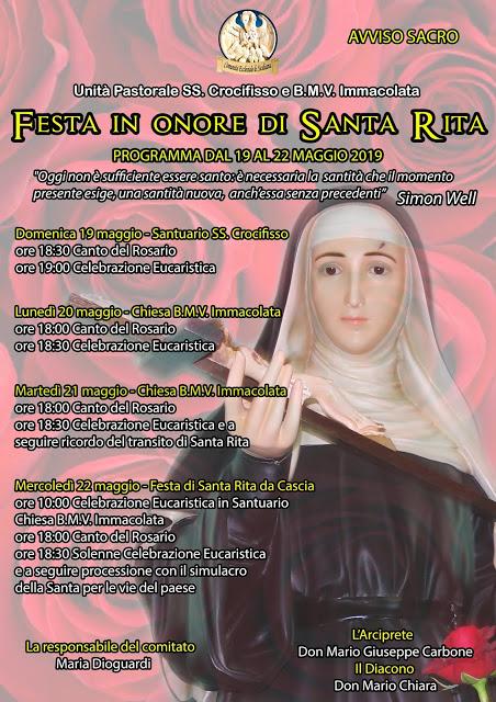 Festa di Santa Rita, dal 19 a 22 Maggio 2019