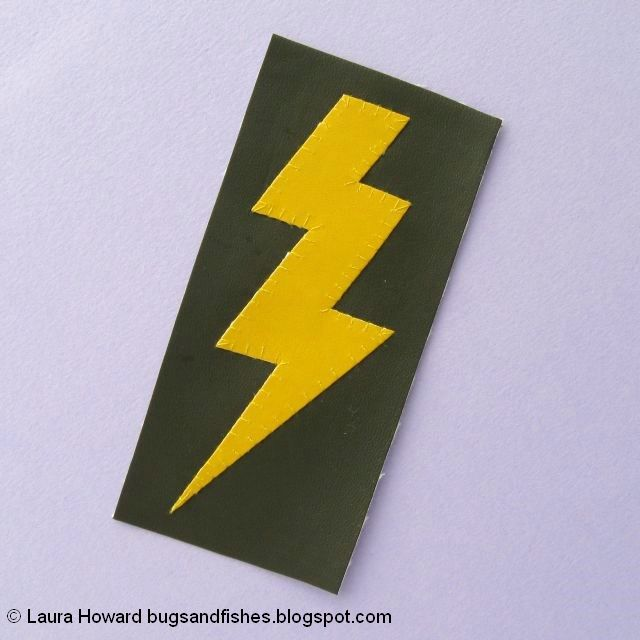 vegan leather lightning bolt brooch tutorial: sew the pieces together