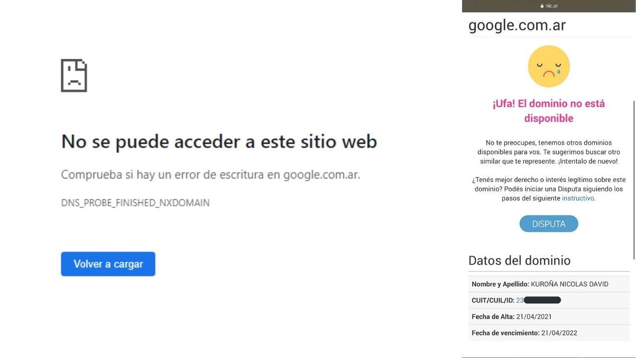 Un joven argentino registró el dominio google.com.ar por unas horas y el buscador estuvo caído en el país