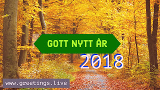 Yellow forest look new year wishes in Swedish